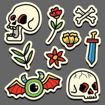 Hand drawn kawaii doodle cartoon skull tattoo sticker design