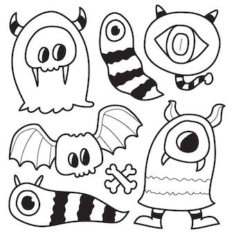 Hand drawn kawaii doodle monster cartoon coloring design