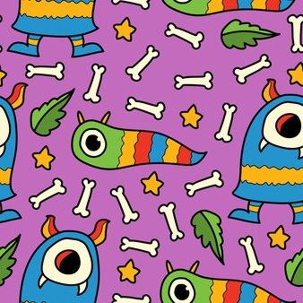 손으로 그린 카와이 낙서 괴물 만화 패턴 디자인