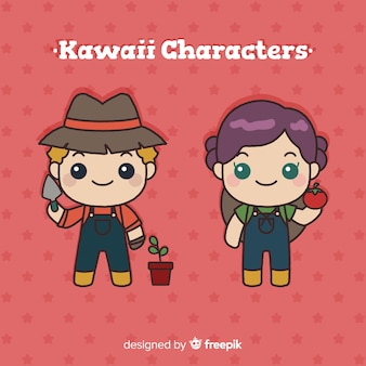 Hand drawn kawaii farmers collection