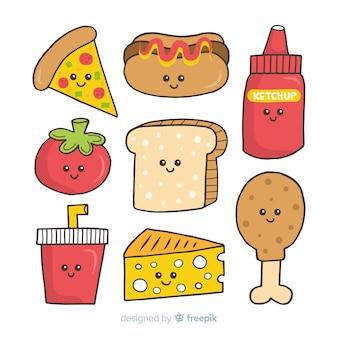 Hand drawn kawaii fast food pack