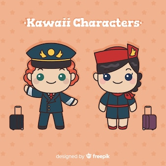 Hand drawn kawaii flight attendant collection