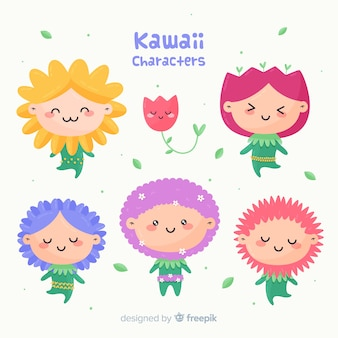 Hand drawn kawaii floral people pack