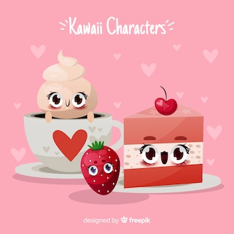 Hand drawn kawaii food background
