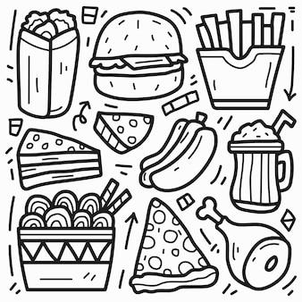 손으로 그린 귀여운 음식 만화 낙서 디자인