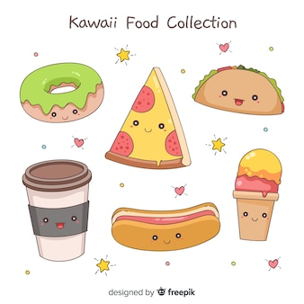 Hand drawn kawaii food collection