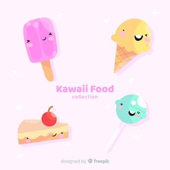 Hand drawn kawaii food collection