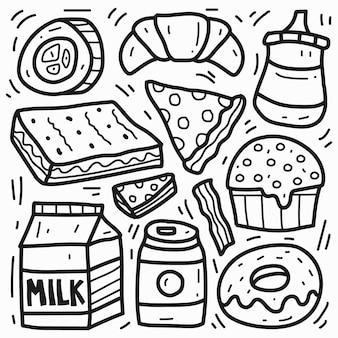 손으로 그린 귀여운 음식 낙서 만화 디자인
