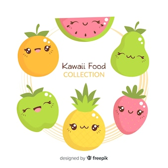 Hand drawn kawaii fruit collection