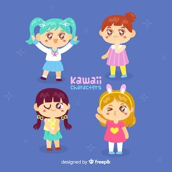 Hand drawn kawaii girls collection