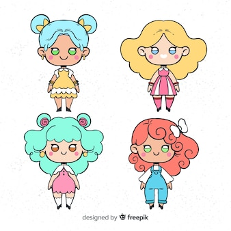 Hand drawn kawaii girls collection