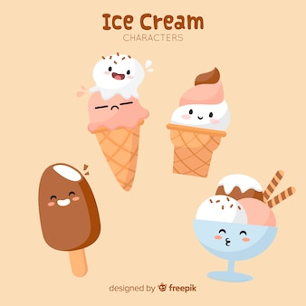 Hand drawn kawaii ice cream characters set