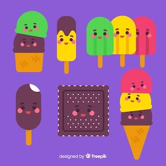 Hand drawn kawaii ice cream characters set
