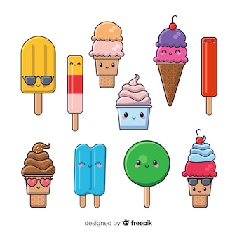 Hand drawn kawaii ice cream collection