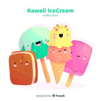 Hand drawn kawaii ice cream collection