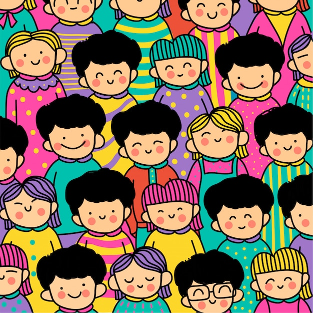 Hand drawn kawaii people pattern