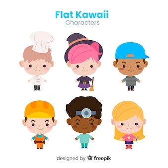 Hand drawn kawaii professional characters collection
