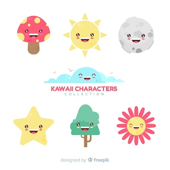 Hand drawn kawaii sky characters collection