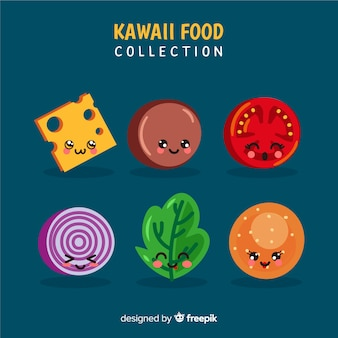 Hand drawn kawaii smiling burger collection
