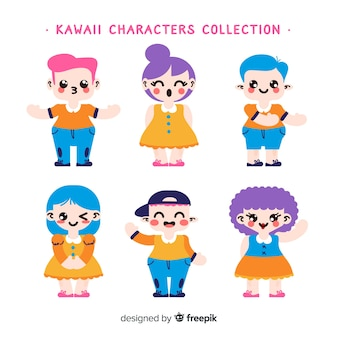 Hand drawn kawaii smiling characters collection