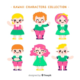 Hand drawn kawaii smiling characters collection