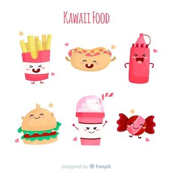 Hand drawn kawaii smiling fast food collection