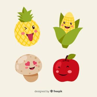 Hand drawn kawaii smiling food collection