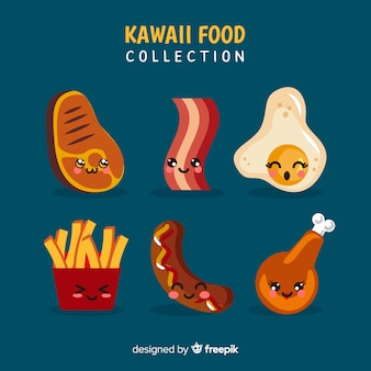 Hand drawn kawaii smiling food collection