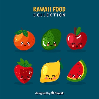 Hand drawn kawaii smiling fruit collection