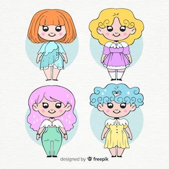 Hand drawn kawaii smiling girls collection