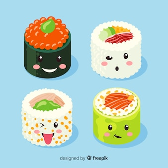 Hand drawn kawaii smiling sushi collection