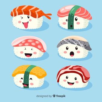 Hand drawn kawaii smiling sushi collection