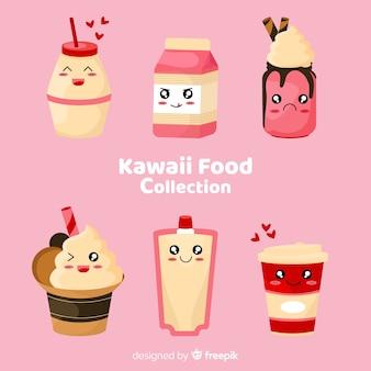 Hand drawn kawaii smiling sweet food collection