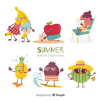 Hand drawn kawaii summer characters collection