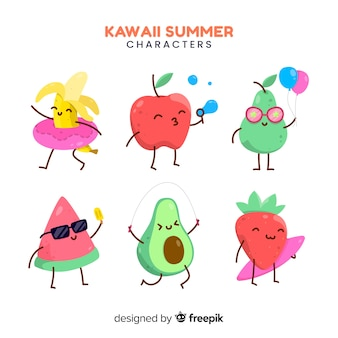 Hand drawn kawaii summer characters collection