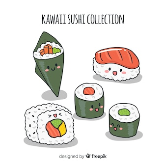Hand drawn kawaii sushi collection