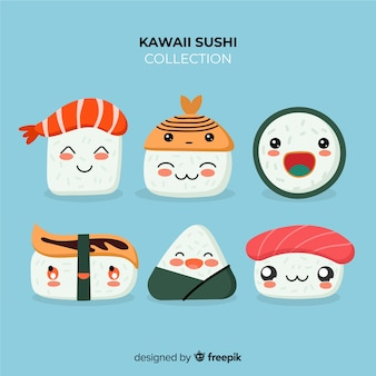 Hand drawn kawaii sushi pack