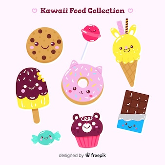 Hand drawn kawaii sweet food collection
