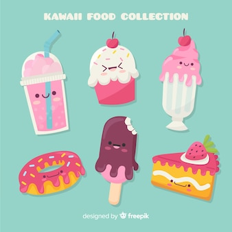 Hand drawn kawaii sweet food pack