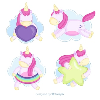 Hand drawn kawaii unicorn collection