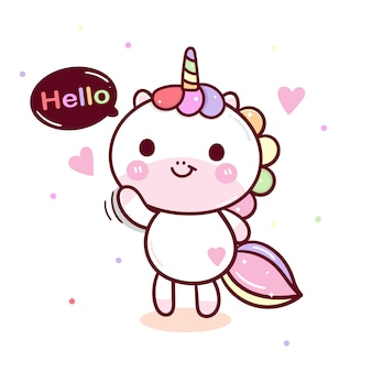 Hand drawn kawaii unicorn vector  greeting posture