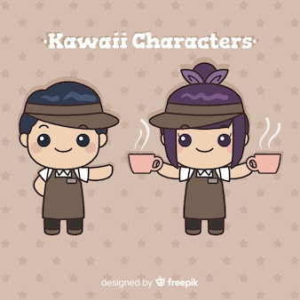 Hand drawn kawaii waiters collection