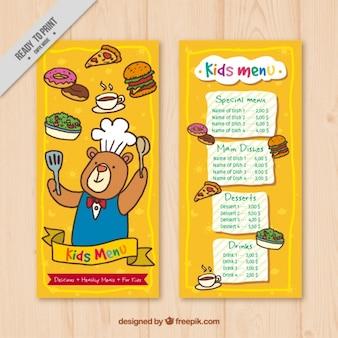 Menù per bambini disegnati a mano con sfondo giallo