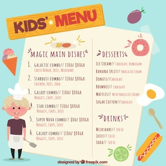 Hand-drawn kid's menu with young chef and products