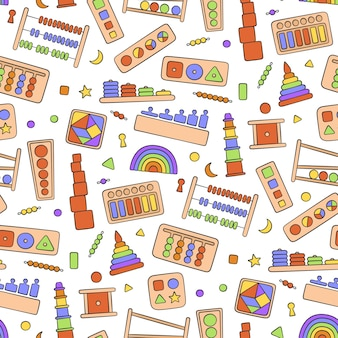Hand drawn kid toys. education logic toys seamless pattern in doodle style