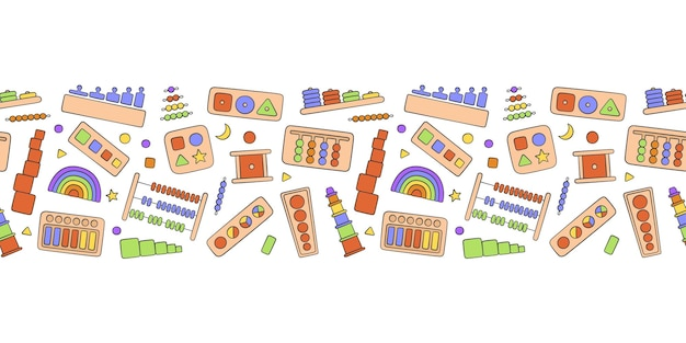 몬테소리 게임을 위한 손으로 그린 어린이 장난감