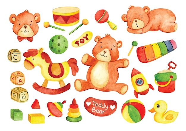 水彩風の手描きの子供のおもちゃのテディベア