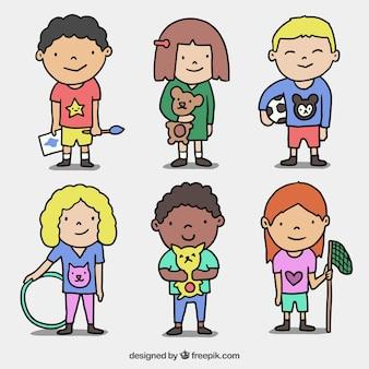 Hand-drawn kids for children's day