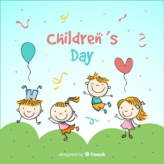 Hand drawn kids childrens day background