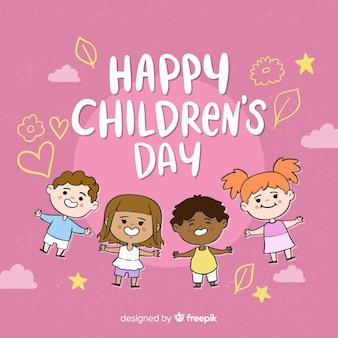 Hand drawn kids childrens day background